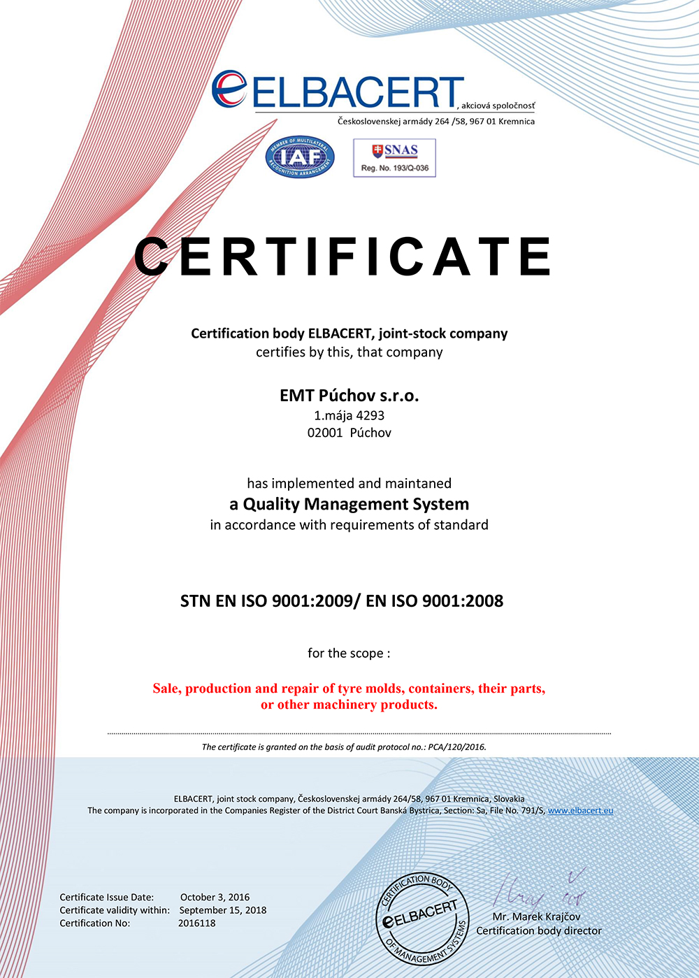About us emt pchov sro iso 90012008 certificate 1betcityfo Gallery